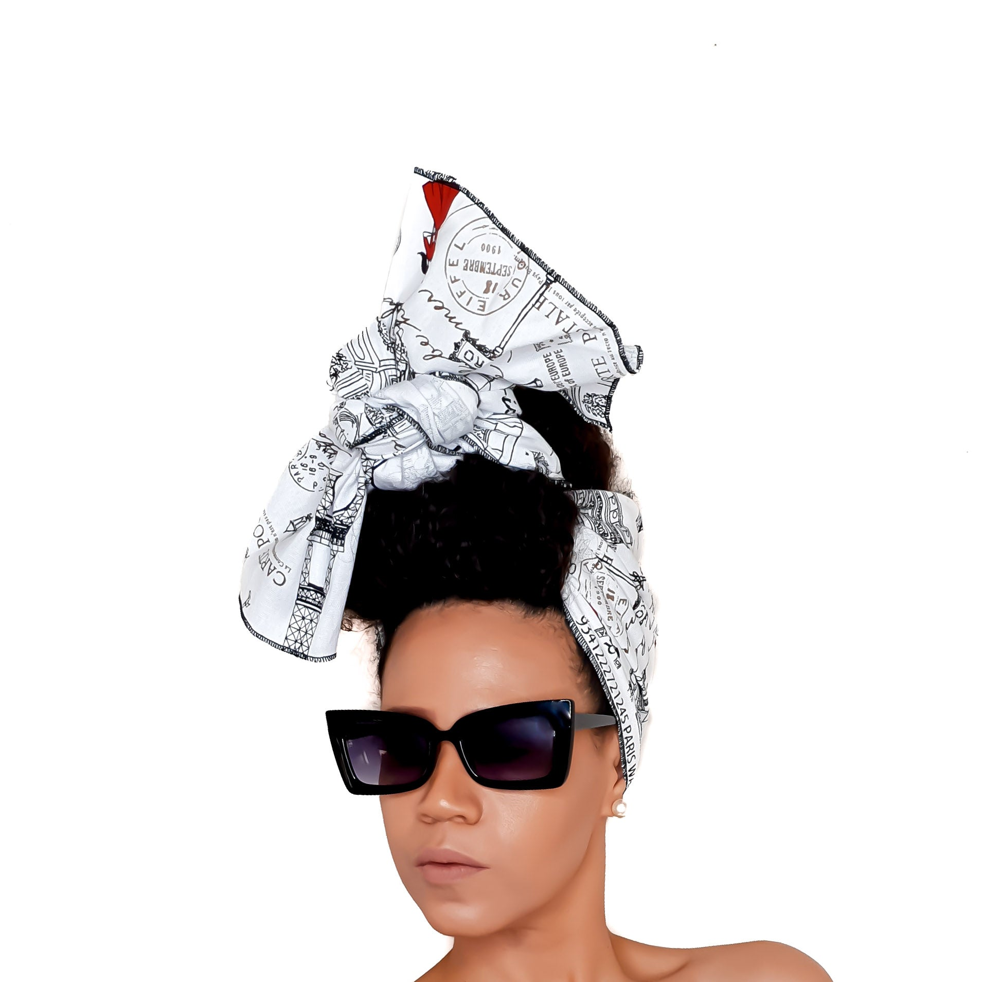 Newspaper Print Head Wrap - Brave Bae in PARISIAN WALK