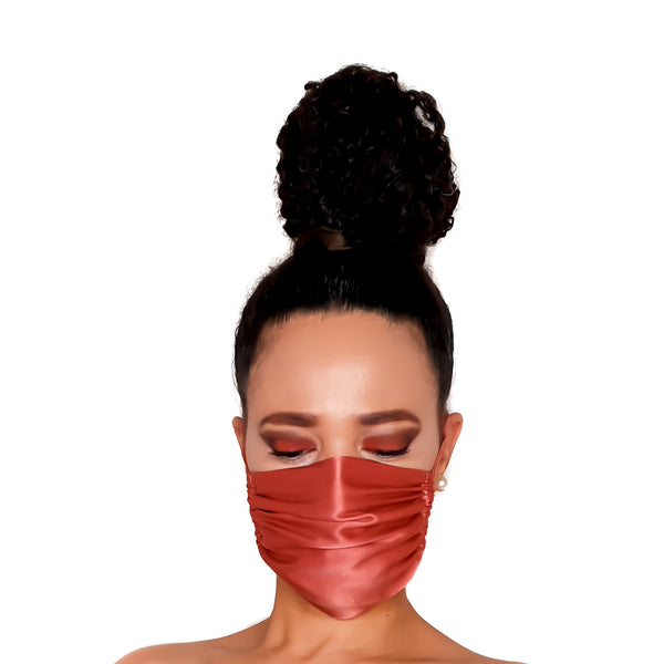 Stylish Sustainable and Washable Silk Face Mask - Peach