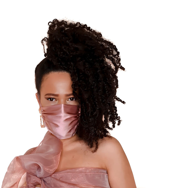 Stylish Sustainable and Washable Silk Face Mask - Millennial Pink