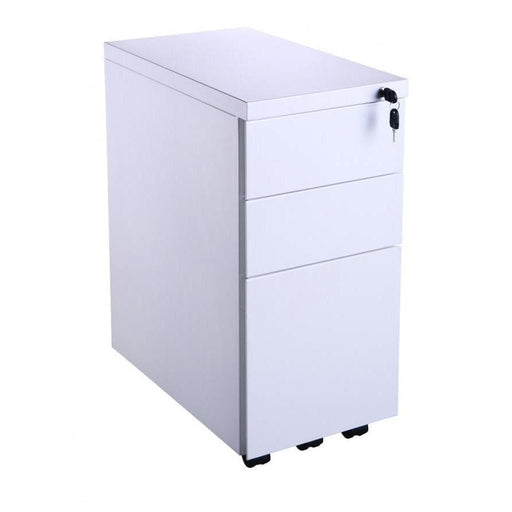white slimline office pedestals