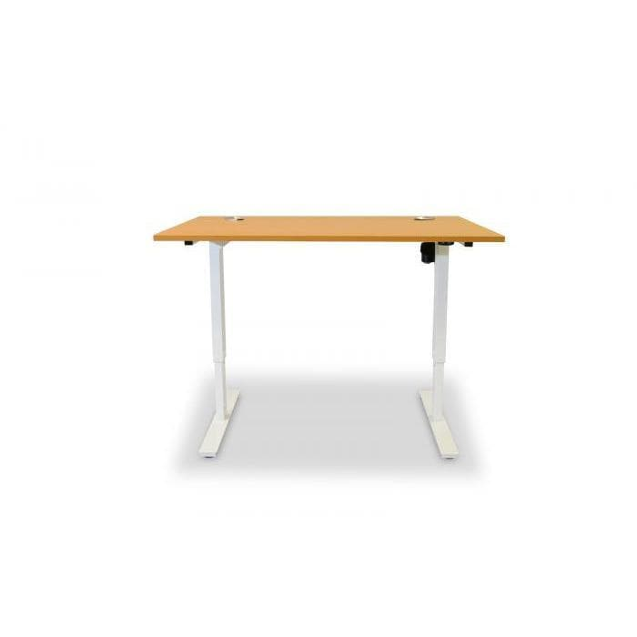 white height adjustable desk