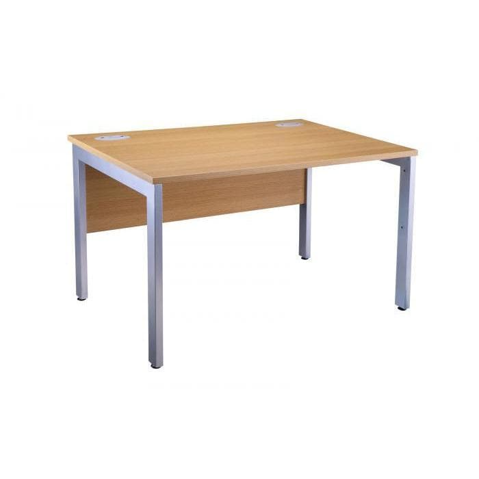 Light Oak Bench Desk OI Range Silver Leg