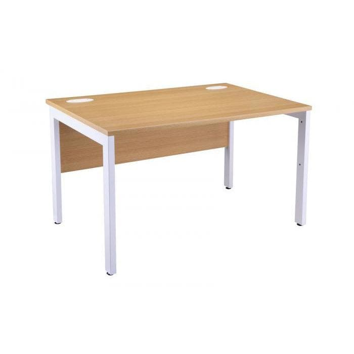 Light Oak Bench Desk OI Range White Leg