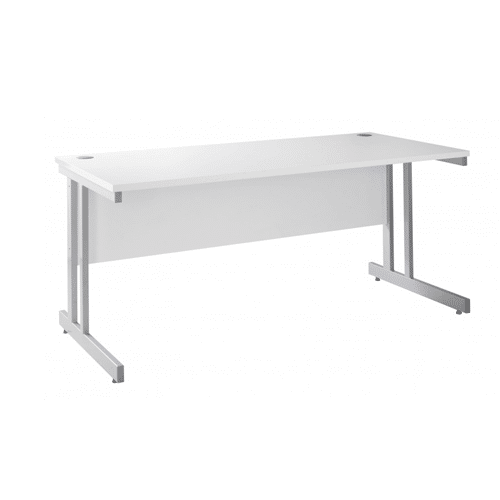 white straight cantilever desk