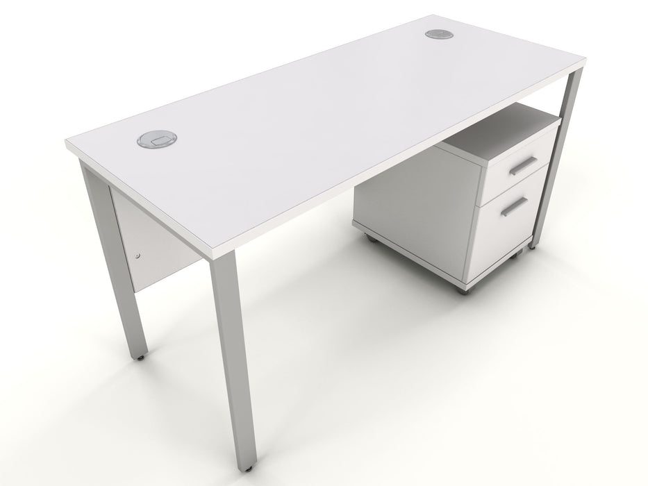 office desk with white office drawers
