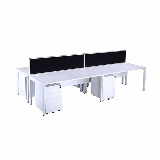 White bench desk bundle
