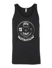 PERFORMANCE MENS TANK TOP - 45LB PLATE IRON GANG LOGO - BLACK