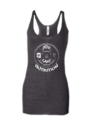 WOMENS PERFORMANCE RACERBACK TANK TOP - 45LB PLATE IRON GANG LOGO - BLACK