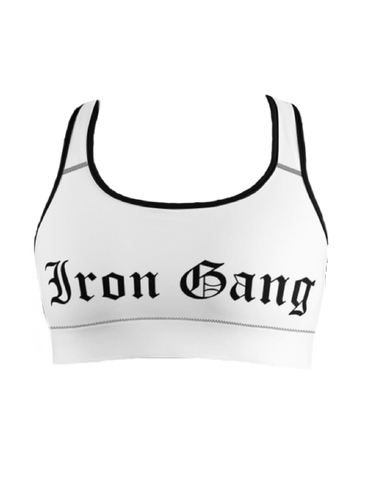 "PERFORMANCE SPORTS BRA - ""OLD E"" IRON GANG LOGO - WHITE"