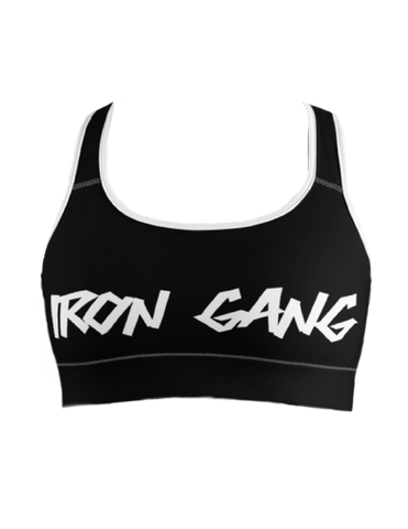 "PERFORMANCE SPORTS BRA - ""GRAFFITI"" IRON GANG LOGO - BLACK"