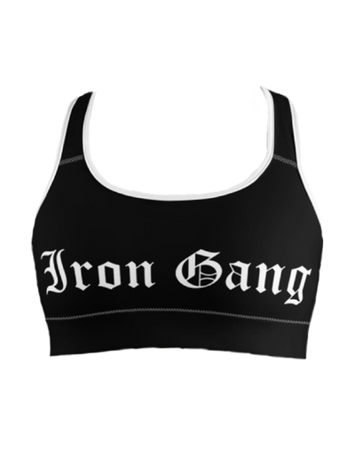 "PERFORMANCE SPORT BRA - ""OLD E"" IRON GANG LOGO - BLACK"