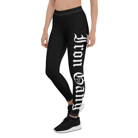 "PERFORMANCE LEGGINGS - ""OLD E"" IRON GANG LOGO - BLACK"