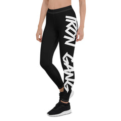 "PERFORMANCE LEGGINGS - ""GRAFFITI"" IRON GANG NUTRITION LOGO - BLACK"
