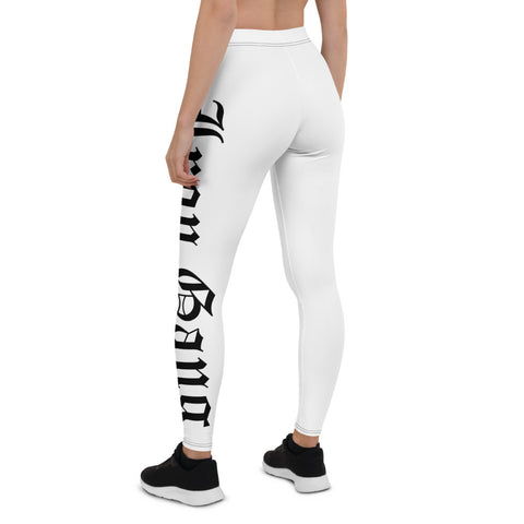 "PERFORMANCE LEGGINGS - ""OLD E"" IRON GANG NUTRITION LOGO - WHITE"