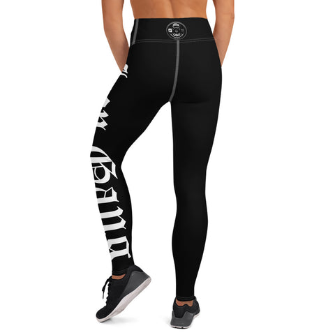 "HIGH WAIST PERFORMANCE LEGGINGS - ""OLD E"" IRON GANG LOGO - BLACK"