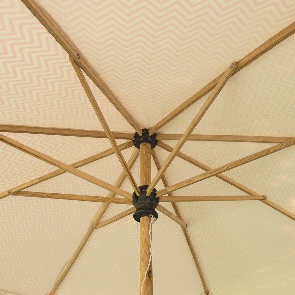 Pink Aretha Octagonal Parasol inside shot showing wooden structure