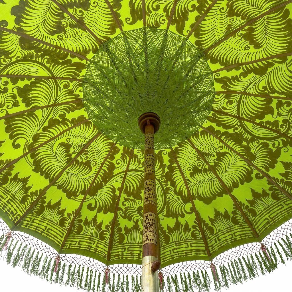 East London Parasol Company Bali Bamboo 2m garden umbrella. Jane- lime green and gold with pink and green tassels. Handmade and handpainted.
