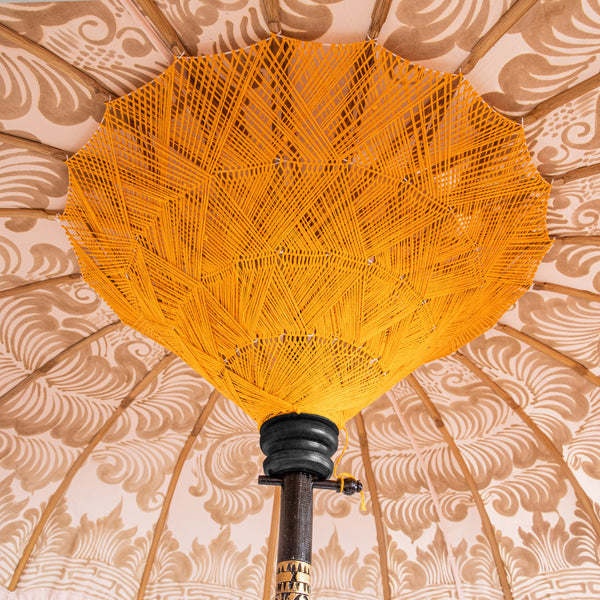 Helena Bamboo Parasol with hand painted gold lotus detail with pink and orange tassels