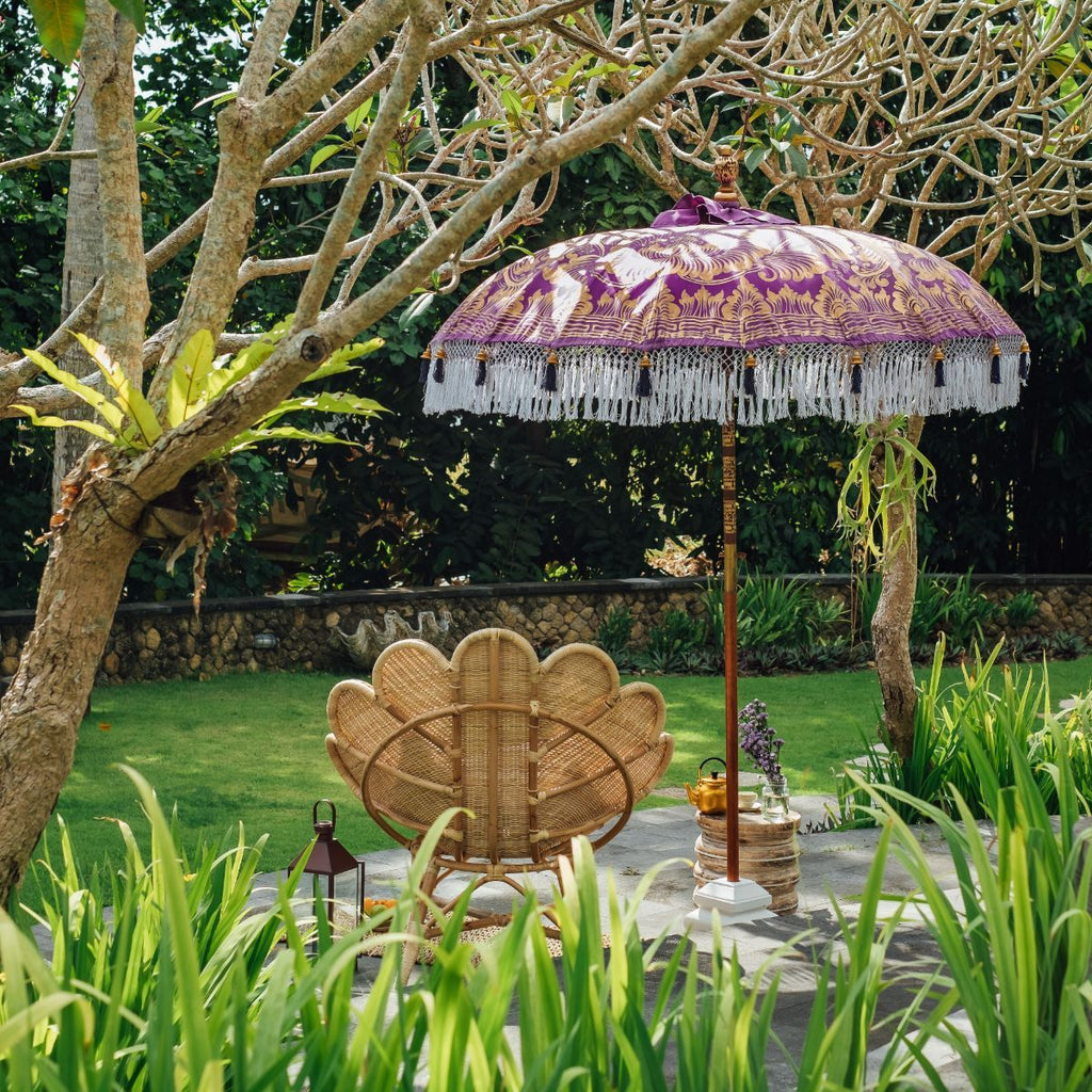 East London Parasol Company Bali Bamboo 2m garden umbrella. purple and gold. Handmade and handpainted with fringing and tassels in shades of white