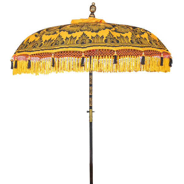 Augusta Round Bamboo Parasol with Yellow tassels and hand painted black lotus design
