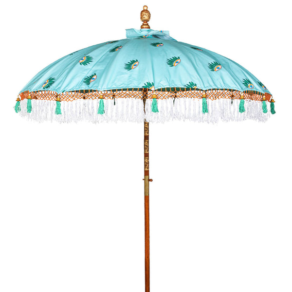 Catherine Parasol with turquoise cover and evil eye print