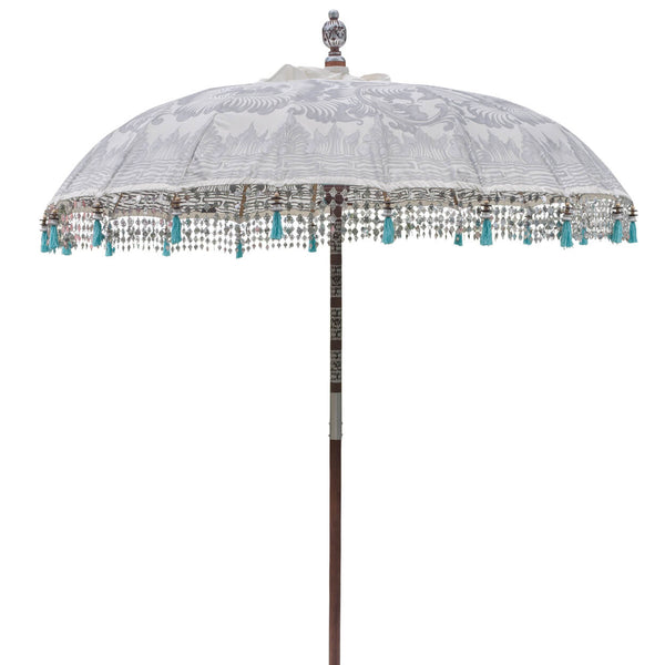 Cher Bamboo Parasol with tassels and pole detail