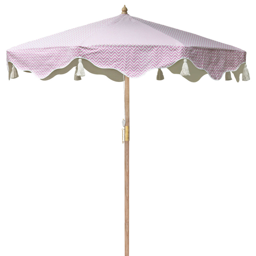 Pink Aretha Octagonal Parasol showing pink zig zap pattern on canopy
