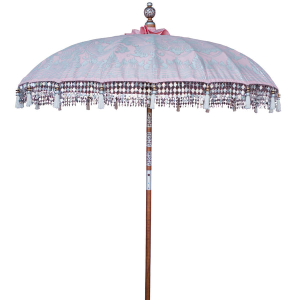 Stevie Bamboo Parasol showing pink and silver detailing product shot