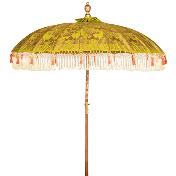 Wolfie Bamboo Parasol product shot showing olive canopy with golden lotus design