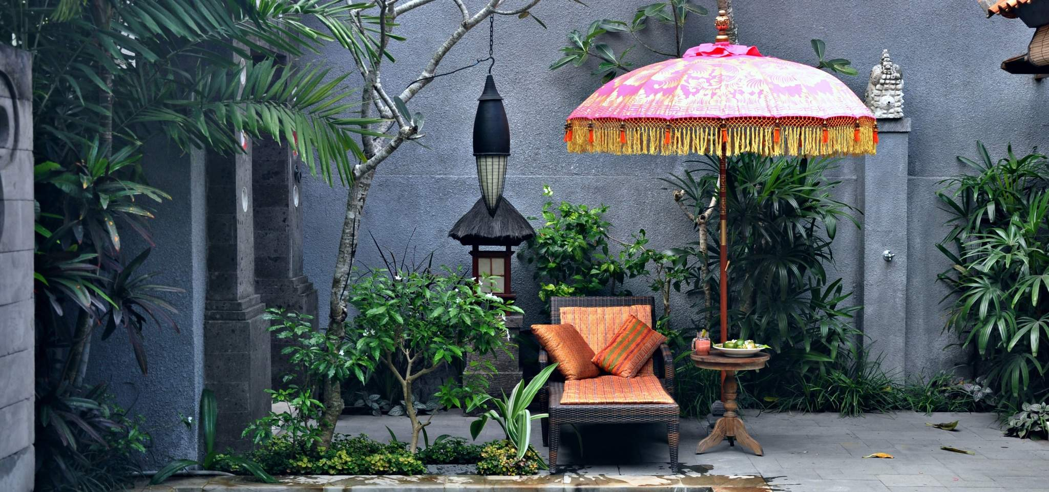 Bali garden parasol pink orange and gold whitney
