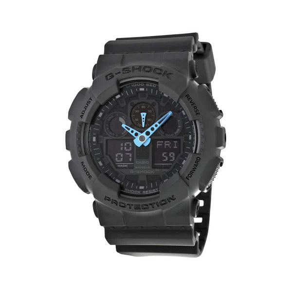 Casio Men's G-Shock Analog-Digital Watch GA-100C-8ACR, Grey/Neon Blue - Epivend