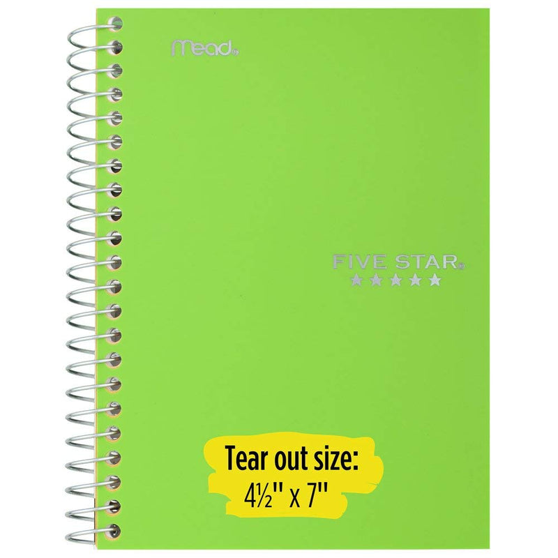 Five Star Spiral Notebooks, 1 Subject, College Ruled Paper, 100 Sheets, 7 x 5 inches, Personal Size, Colors Selected For You, 2 Pack (73707) - Epivend
