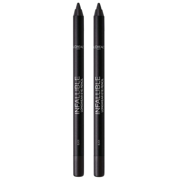 L'Oreal Paris Makeup Infallible Pro-Last Pencil Eyeliner, Waterproof & Smudge-Resistant, Glides on Easily to Create any Look, Black, 2 Count - Epivend