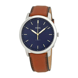 Fossil Men's The Minimalist Quartz Stainless Steel and Leather Casual Watch, Color: Silver-Tone, Brown (Model: FS5304) - Epivend