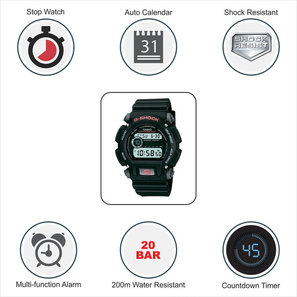 Casio Men's G-Shock Quartz Watch with Resin Strap, Black, 25 (Model: DW9052-1V) - Epivend