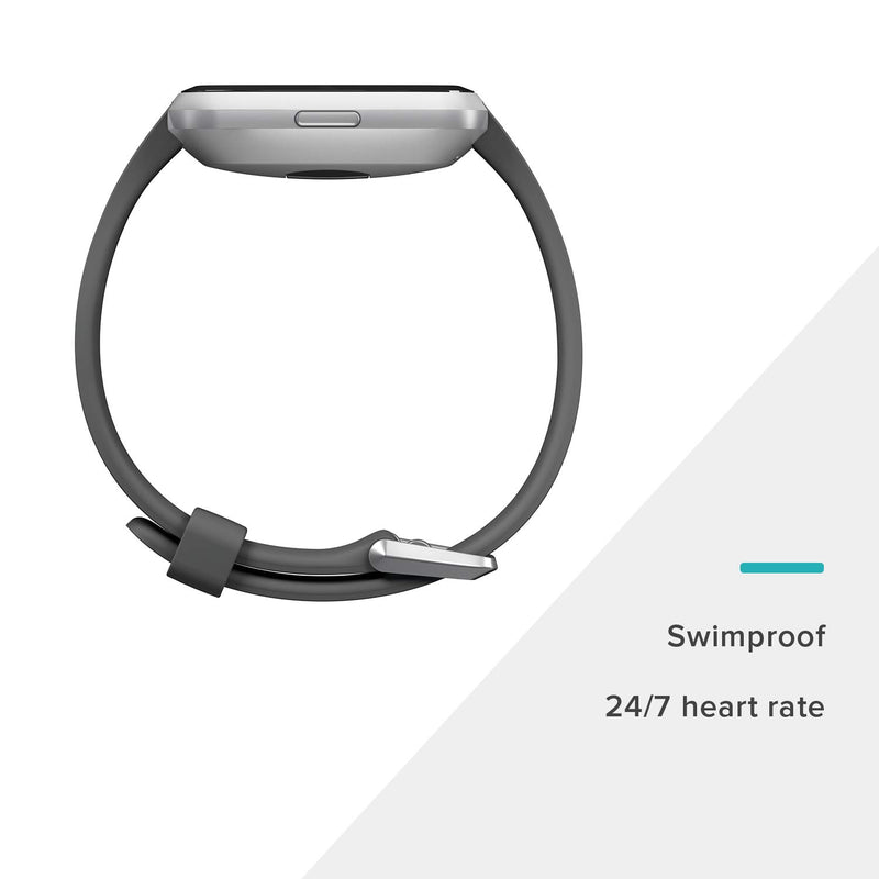 Fitbit Versa Lite Smartwatch, Charcoal/Silver Aluminum, One Size (S & L Bands Included) - Epivend