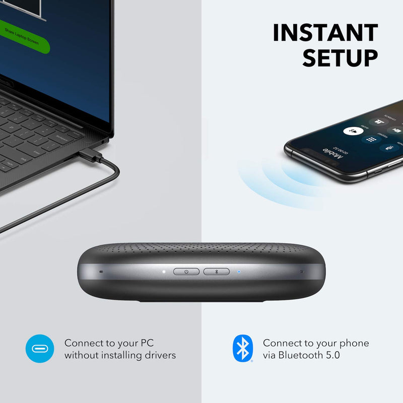 Anker PowerConf Bluetooth Speakerphone with 6 Microphones, Enhanced Voice Pickup, 24 Hour Call Time, Bluetooth 5, USB C, Conference Speaker Compatible with Leading Platforms, PowerIQ Technology - Epivend