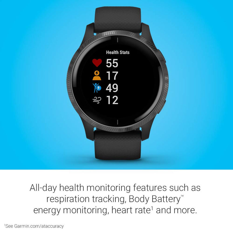 Garmin Venu, GPS Smartwatch with Bright Touchscreen Display, Features Music, Body Energy Monitoring, Animated Workouts, Pulse Ox Sensor and More, Black, 010-02173-11 - Epivend