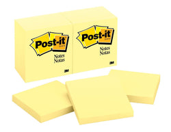 Post-it Notes, Canary Yellow, Call out Important Information, Recyclable, 3 in. x 3 in, 12 Pads/Pack, 100 Sheets/Pad (654) - Epivend