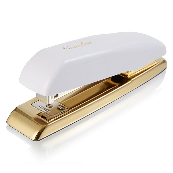Swingline Stapler, Desktop Stapler, 20 Sheet Capacity, White/Gold (64701) - Epivend