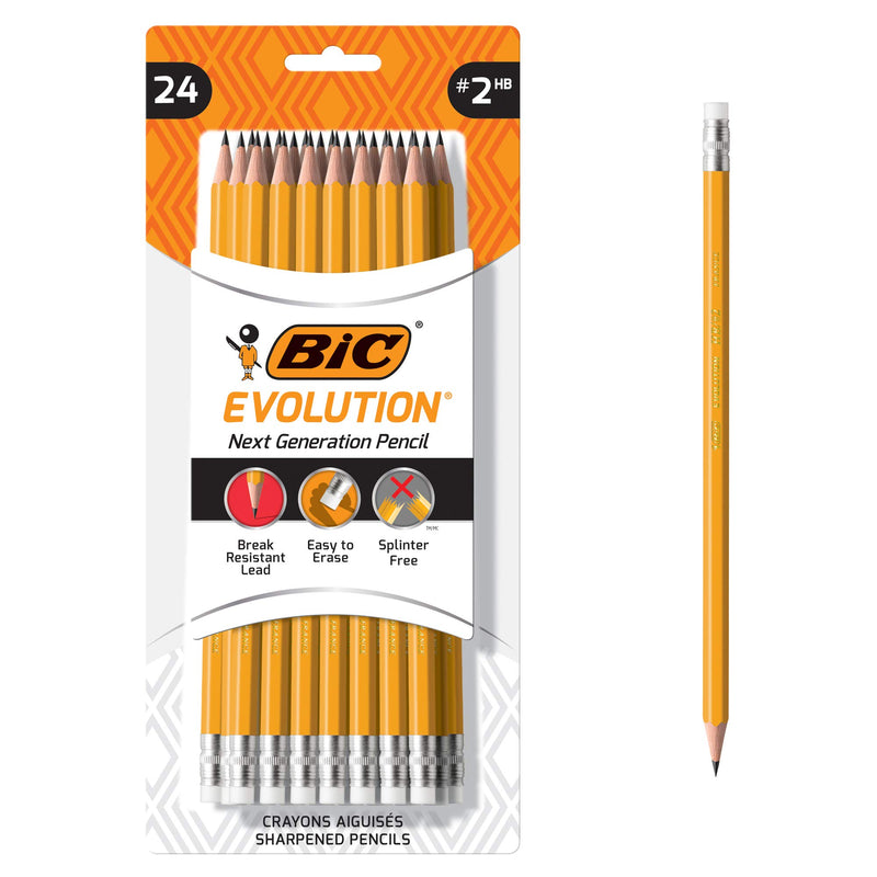 BIC Evolution Cased Pencil, #2 Lead, Yellow Barrel, 24-Count - Epivend