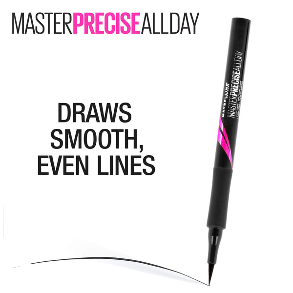 Maybelline Eyestudio Master Precise All Day Liquid Eyeliner Makeup, Black, 0.034 fl. oz. - Epivend