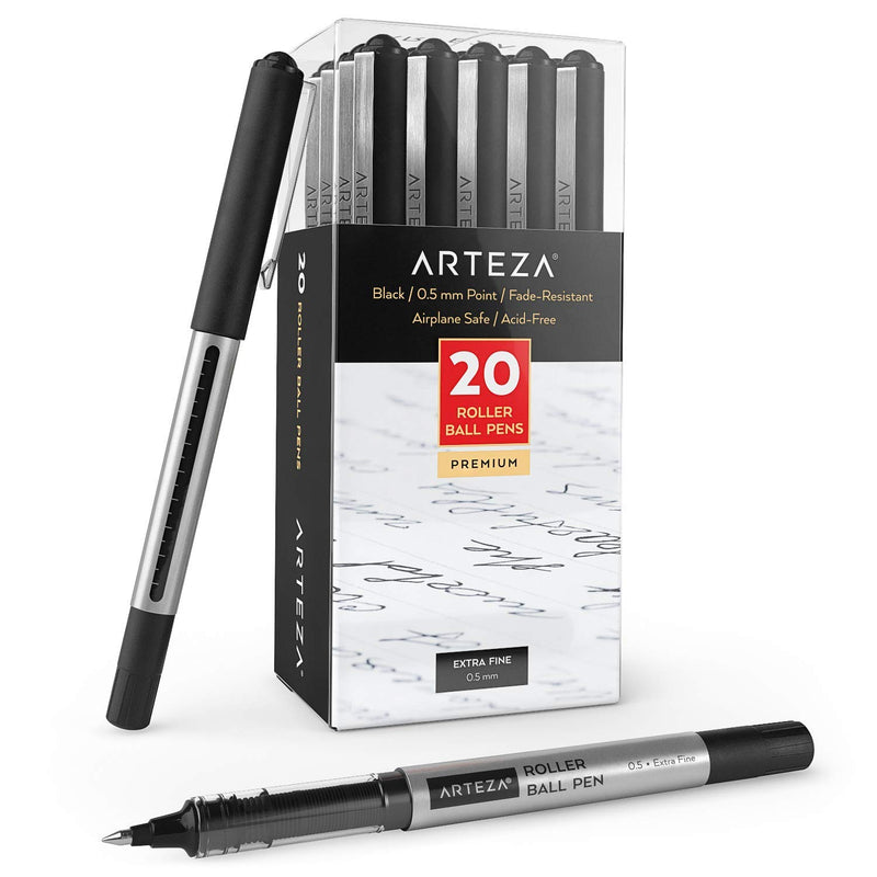 Arteza Rollerball Pens, Pack of 20, 0.5mm Black Liquid Ink Pens for Bullet Journaling, Fine Point Rollerball for Writing, Taking Notes & Sketching - Epivend
