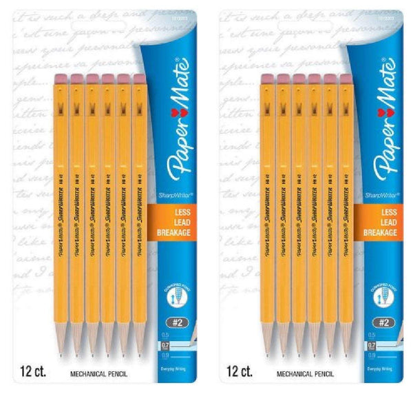 Paper Mate SharpWriter Mechanical Pencils, 0.7mm, HB #2, Yellow, 24 Count - Epivend