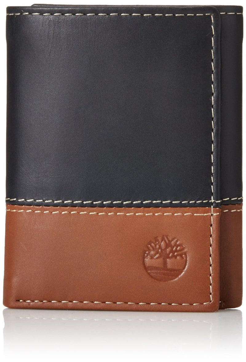 Timberland Mens Leather Trifold Wallet With ID Window, Black / Brown (Hunter), One Size - Epivend