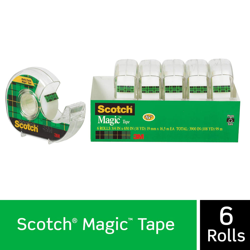 Scotch Brand Magic Tape, 6 Dispensered Rolls, Writeable, Invisible, The Original, Engineered for Repairing, Great for Gift Wrapping, 3/4 x 650 Inches (6122) - Epivend