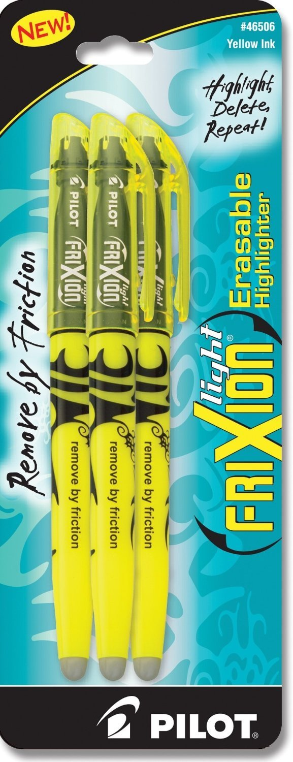 Pilot FriXion Light Erasable Highlighters Chisel Point 3-pk Yellow; Make Mistakes Disappear, Too Much, Uneven, or The Wrong Color Highlighted? No Need To Stress with America's #1 Selling Pen Brand - Epivend