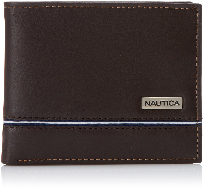 Nautica Men's Slim Passcase Wallet, Plaque Logo Brown, One Size - Epivend