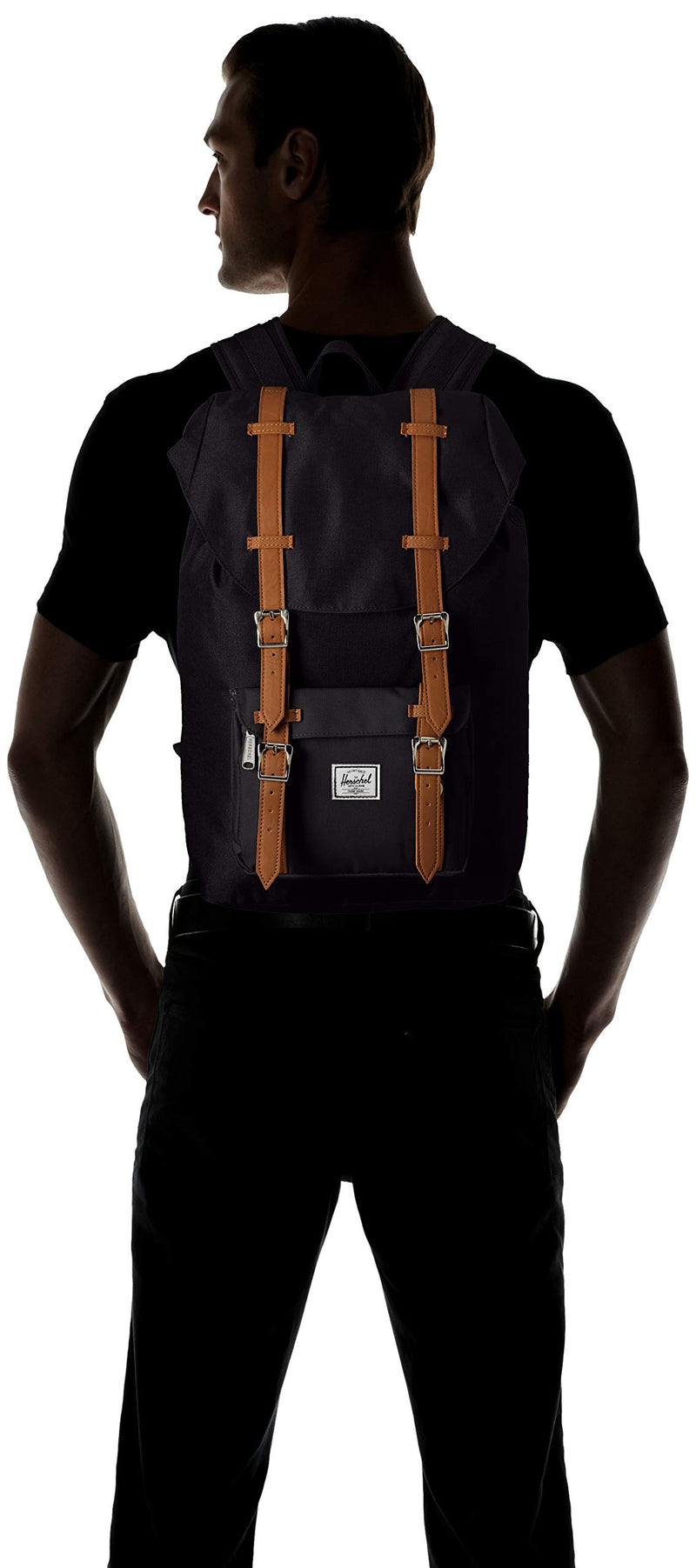 Herschel Little America Backpack with Laptop Sleeve, Black/Tan Synthetic Leather, Classic 25L - Epivend
