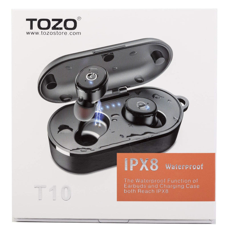 TOZO T10 Bluetooth 5.0 Wireless Earbuds with Wireless Charging Case IPX8 Waterproof TWS Stereo Headphones in Ear Built in Mic Headset Premium Sound with Deep Bass for Sport Black - Epivend